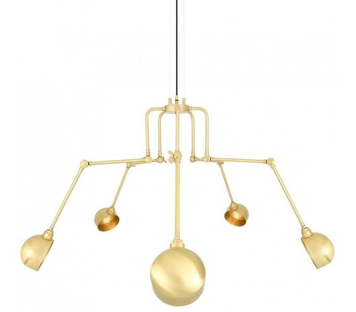 San jose lysekrone ø26 - 130 cm 5 x e27 - satineret messing fra endon lighting på lepong.dk
