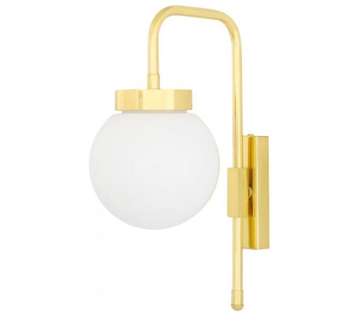 Image of   Auburn Væglampe H37,5 cm 1 x E27 - Poleret messing/Hvid