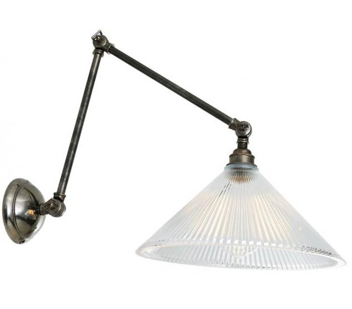 Rebell Væglampe H57 cm 1 x E27 - Antik sølv/Klar