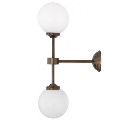 Yaounde Væglampe H50 cm 2 x G9 LED - Antik messing/Hvid