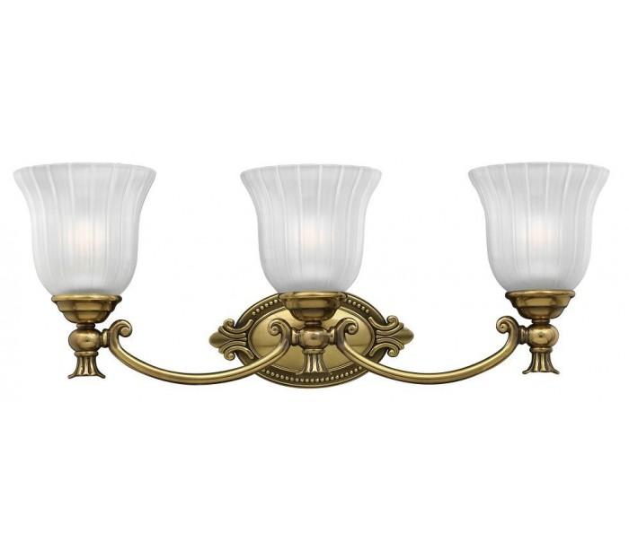 Image of   Francoise Badeværelseslampe i messing og glas B64,1 cm 3 x G9 LED - Antik messing/Frostet