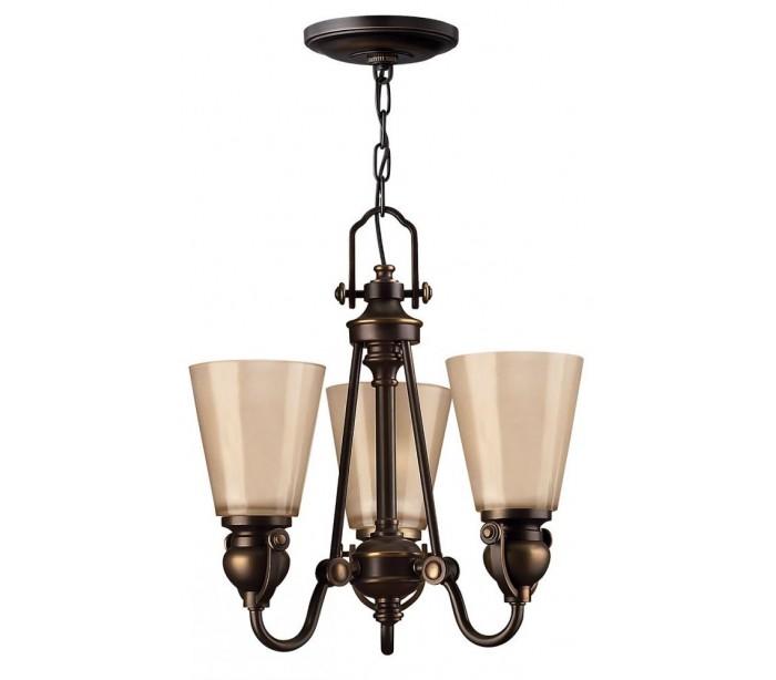 Mayflower lysekrone ø40,6 cm 3 x e27 - aldret bronze/rav fra hinkley lighting fra lepong.dk