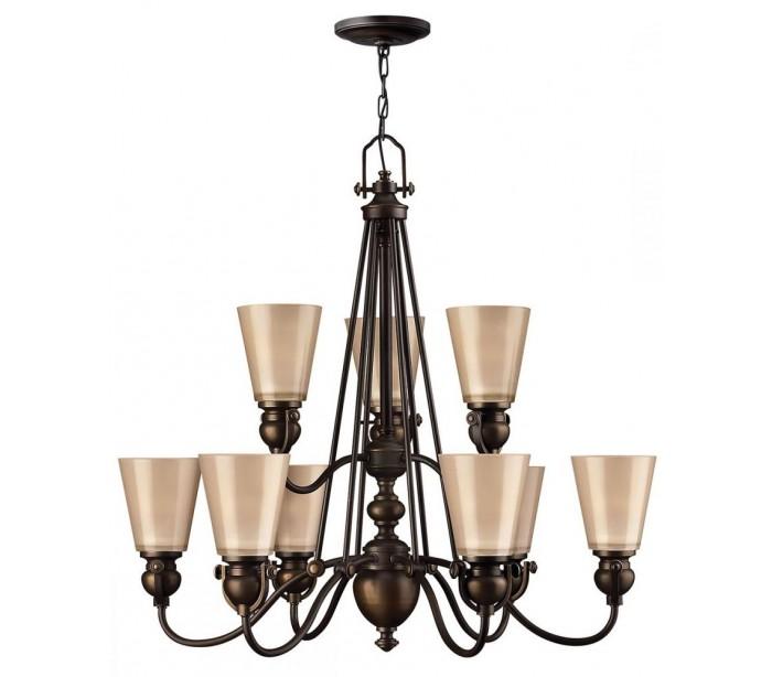 hinkley lighting – Mayflower lysekrone ø81,3 cm 9 x e27 - aldret bronze/rav fra lepong.dk