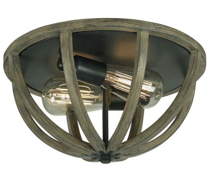 feiss lighting Allier plafond ø33 cm 2 x e27 - rustikt træ/jern på lepong.dk
