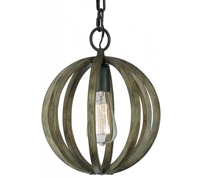 Allier loftlampe ø25,4 cm 1 x e27 - rustikt træ/jern fra feiss lighting fra lepong.dk