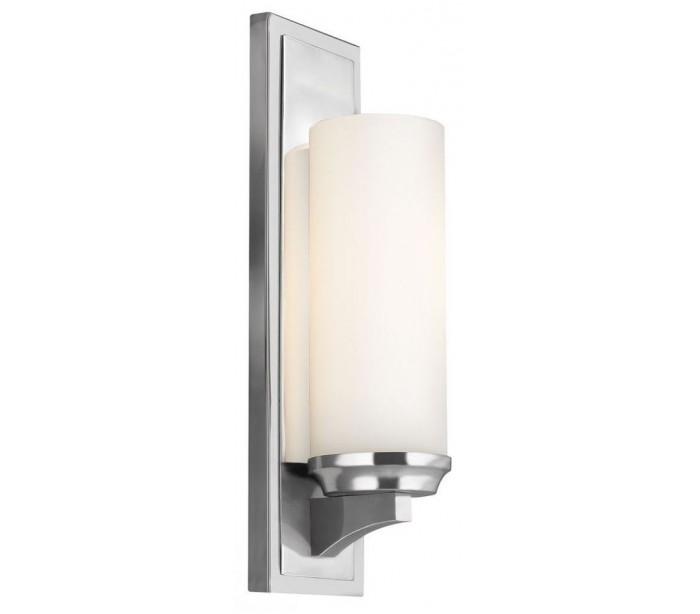 Image of   Amalia Badeværelseslampe i stål og glas H40,6 cm 1 x G9 LED - Poleret krom/Hvid