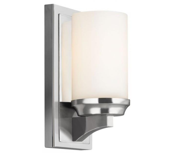 Image of   Amalia Badeværelseslampe i stål og glas H24,1 cm 1 x G9 LED - Poleret krom/Hvid