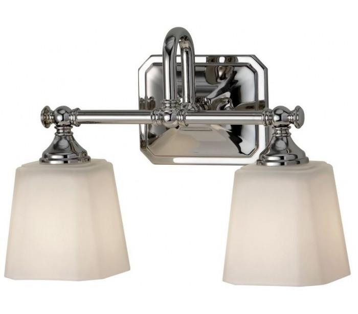 Image of   Concord Badeværelseslampe i stål og glas B35,6 cm 2 x G9 LED - Poleret krom/Hvid