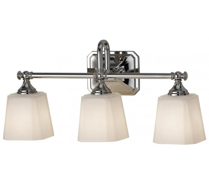 Image of   Concord Badeværelseslampe i stål og glas B53,3 cm 3 x G9 LED - Poleret krom/Hvid