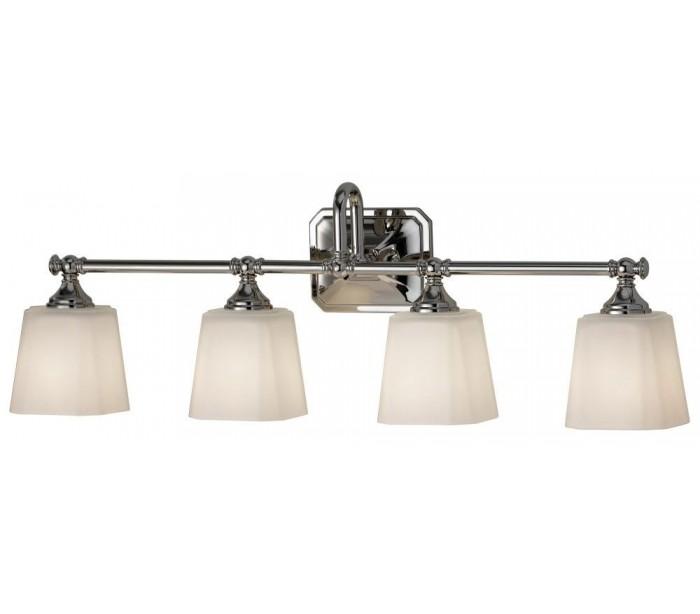 Image of   Concord Badeværelseslampe i stål og glas B76,2 cm 4 x G9 LED - Poleret krom/Hvid
