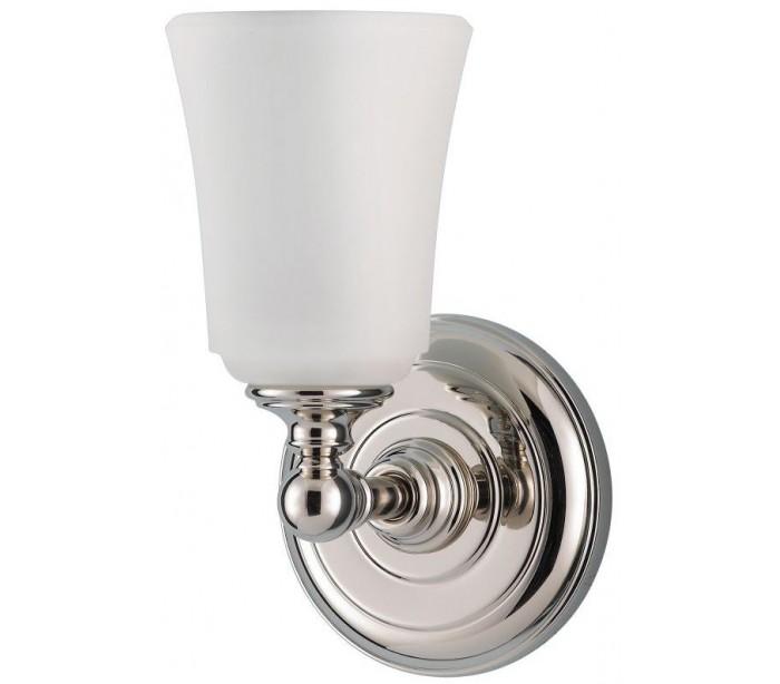 Image of   Huguenot Lake Badeværelseslampe i stål og glas H24,8 cm 1 x G9 LED - Poleret krom/Hvid