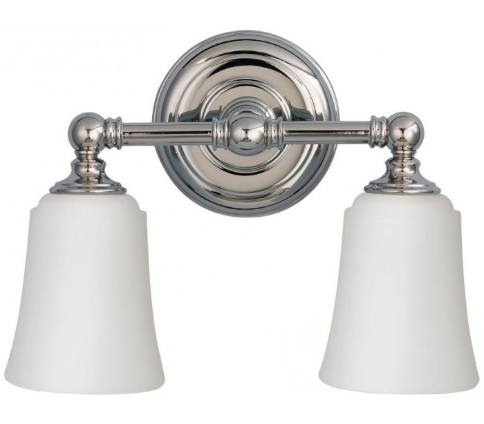 Image of   Huguenot Lake Badeværelseslampe i stål og glas B33 cm 2 x G9 LED - Poleret krom/Hvid