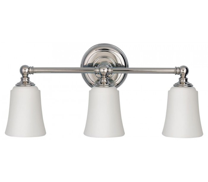 Image of   Huguenot Lake Badeværelseslampe i stål og glas B53,3 cm 3 x G9 LED - Poleret krom/Hvid