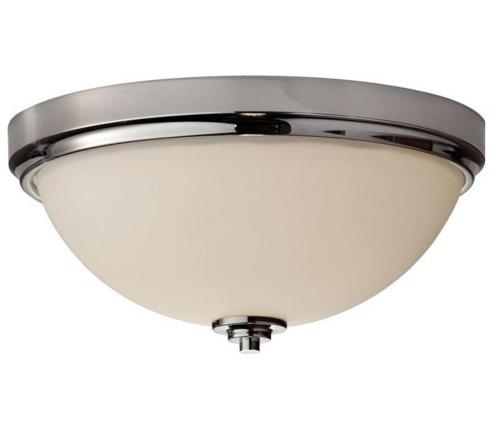 Malibu Badeværelseslampe i stål og glas Ø33,5 cm 2 x E27 – Poleret krom/Hvid