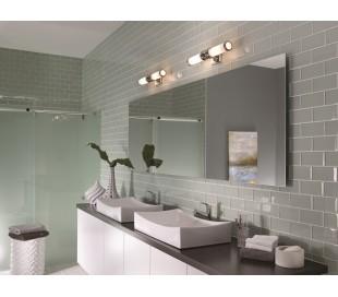 Payne Badeværelseslampe i stål og glas H48,9 cm 2 x G9 LED - Poleret krom/Hvid