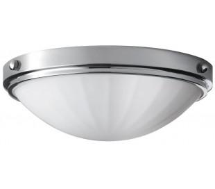 Perry Badeværelseslampe i stål og glas Ø33 cm 2 x E27 - Poleret krom/Hvid