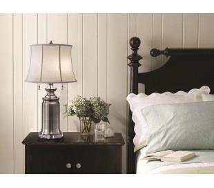 Stateroom Bordlampe H68,6 cm 2 x E27 - Antik nikkel/Hvid