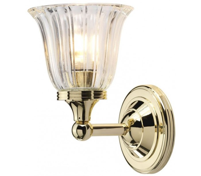 Image of   Austen Badeværelseslampe i messing og glas H22,2 cm 1 x G9 LED - Poleret messing/Klar