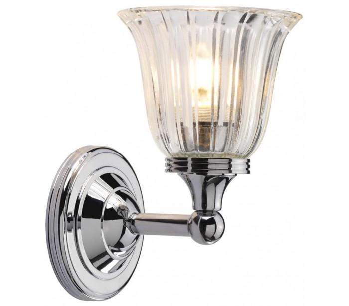 Image of   Austen Badeværelseslampe i messing og glas H22,2 cm 1 x G9 LED - Poleret krom/Klar