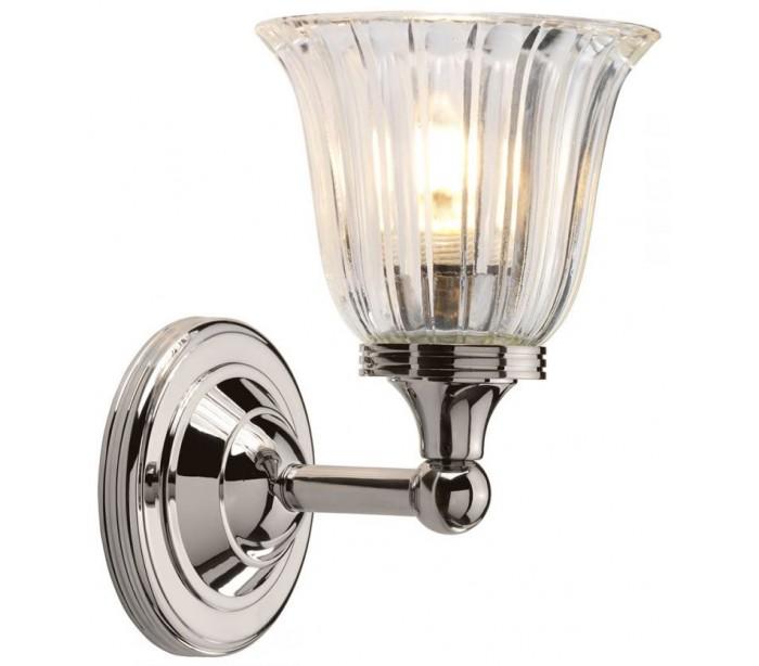Image of   Austen Badeværelseslampe i messing og glas H22,2 cm 1 x G9 LED - Poleret nikkel/Klar