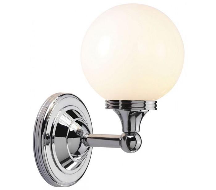 Image of   Austen Badeværelseslampe i messing og glas H24 cm 1 x G9 LED - Poleret krom/Hvid