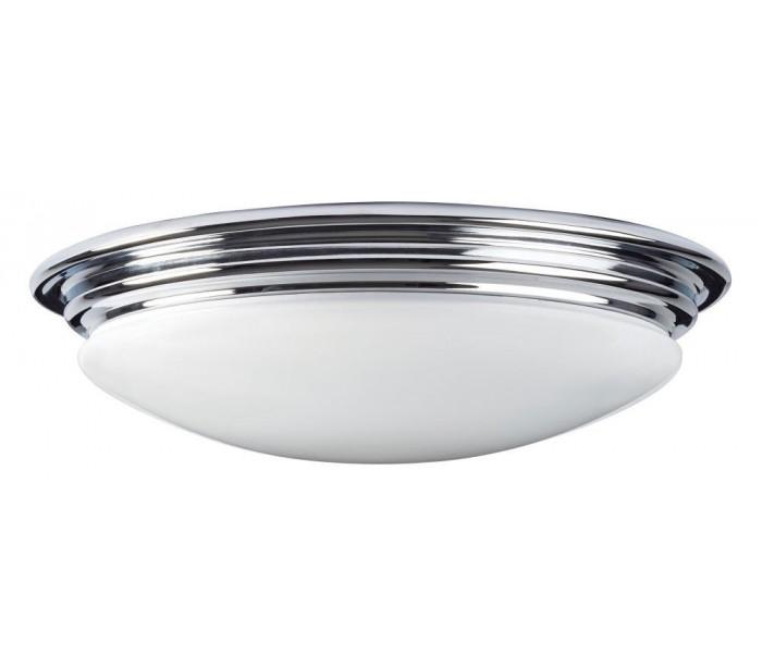 Image of   Brompton Badeværelseslampe i stål og glas Ø35,6 cm 1 x GX53 LED - Poleret krom/Hvid