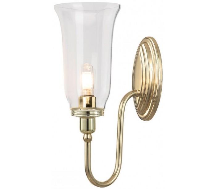 Image of   Blake Badeværelseslampe i messing og glas H34 cm 1 x G9 LED - Poleret messing/Klar