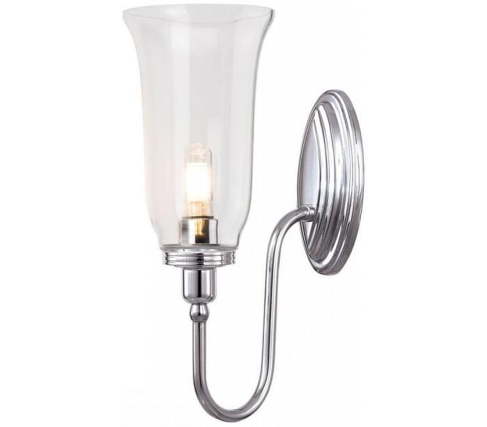 Image of   Blake Badeværelseslampe i messing og glas H34 cm 1 x G9 LED - Poleret krom/Klar