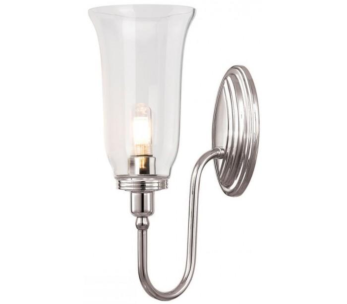 Image of   Blake Badeværelseslampe i messing og glas H34 cm 1 x G9 LED - Poleret nikkel/Klar