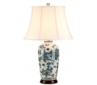 Blue Traditional Bordlampe H73 cm 1 x E27 - Blå/Creme
