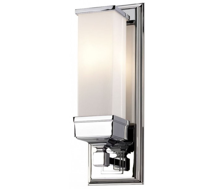 Image of   Cambridge Badeværelseslampe i stål og glas H36,5 cm 1 x G9 LED - Poleret krom/Hvid