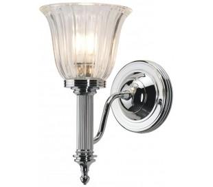 Carroll Badeværelseslampe i messing og glas H26,5 cm 1 x G9 LED - Poleret krom/Klar