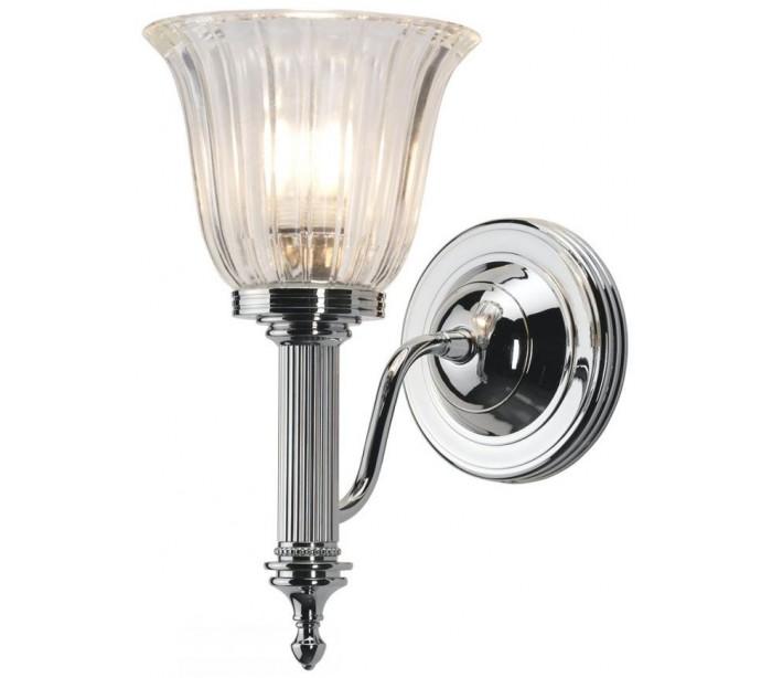 Image of   Carroll Badeværelseslampe i messing og glas H26,5 cm 1 x G9 LED - Poleret krom/Klar