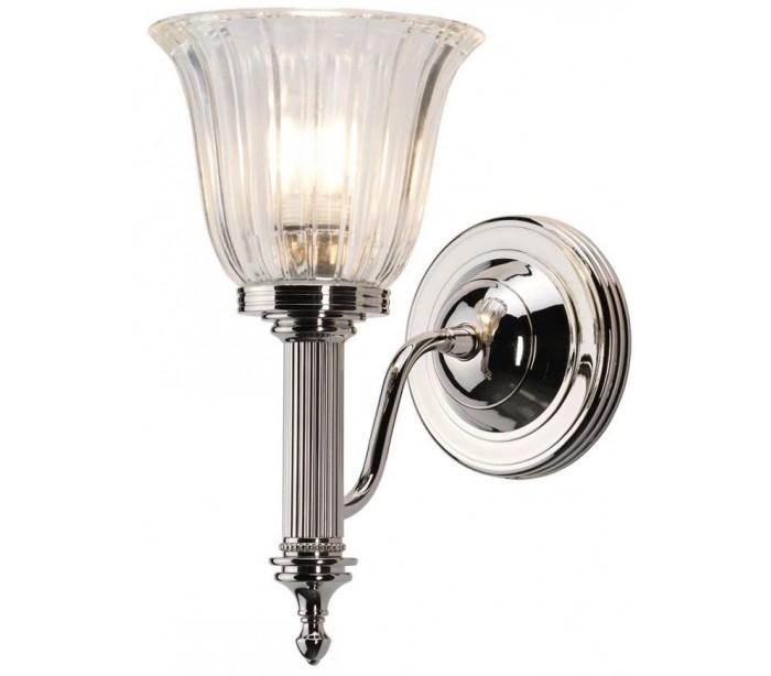 Image of   Carroll Badeværelseslampe i messing og glas H26,5 cm 1 x G9 LED - Poleret nikkel/Klar