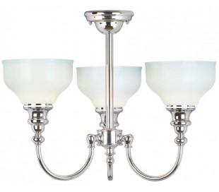 Cheadle Badeværelseslampe i stål og glas Ø45 cm 3 x G9 LED - Poleret krom/Hvid
