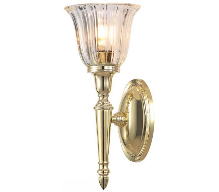 Image of   Dryden Badeværelseslampe i messing og glas H33 cm 1 x G9 LED - Poleret messing/Klar