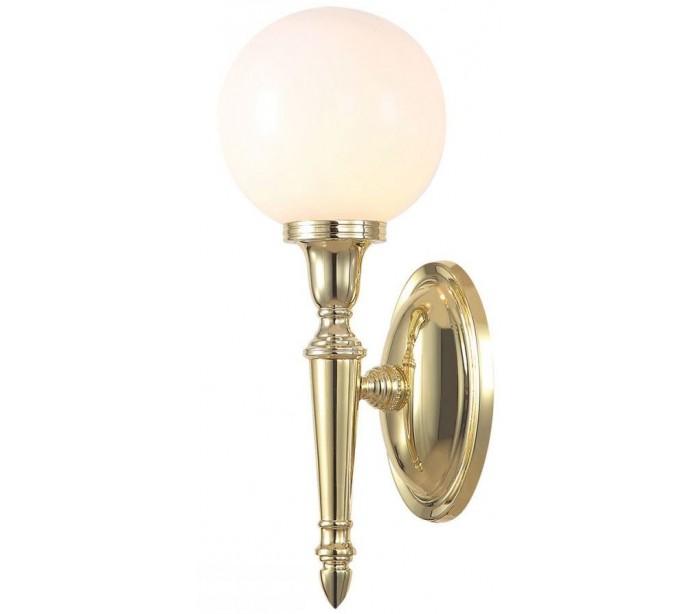 Image of   Dryden Badeværelseslampe i messing og glas H35 cm 1 x G9 LED - Poleret messing/Hvid