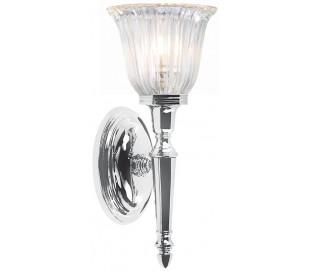 Dryden Badeværelseslampe i messing og glas H33 cm 1 x G9 LED - Poleret krom/Klar