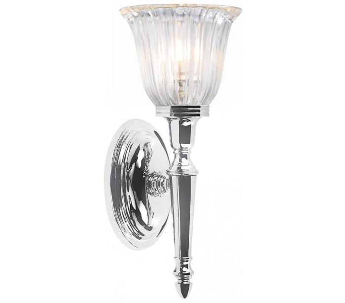Image of   Dryden Badeværelseslampe i messing og glas H33 cm 1 x G9 LED - Poleret krom/Klar