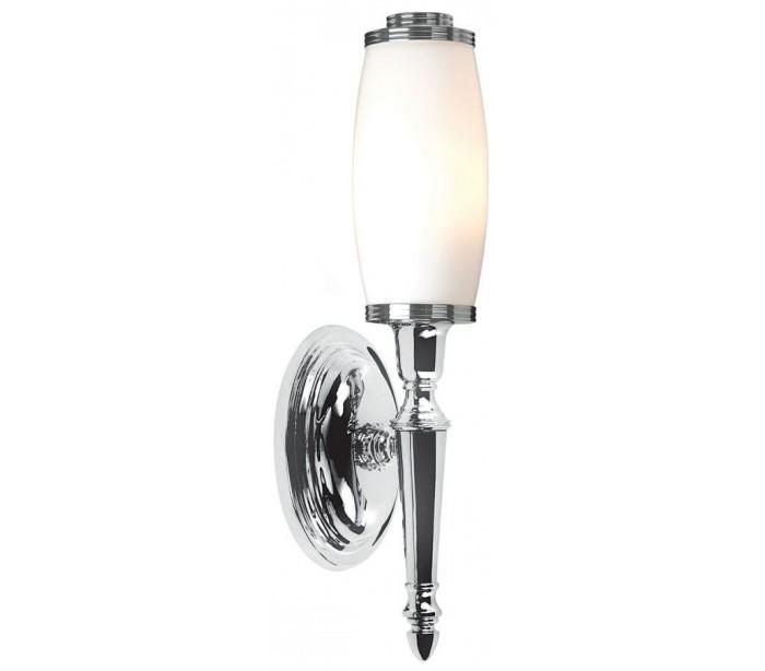 Image of   Dryden Badeværelseslampe i messing og glas H40 cm 1 x G9 LED - Poleret krom/Hvid