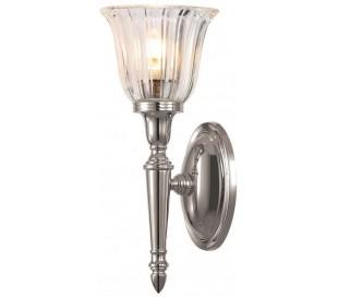 Dryden Badeværelseslampe i messing og glas H33 cm 1 x G9 LED - Poleret nikkel/Klar