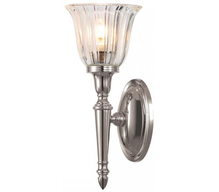 Image of   Dryden Badeværelseslampe i messing og glas H33 cm 1 x G9 LED - Poleret nikkel/Klar