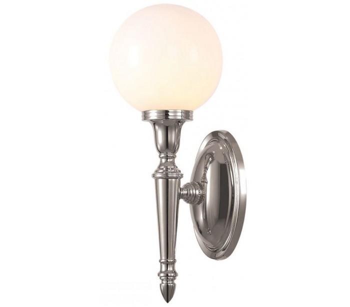 Image of   Dryden Badeværelseslampe i messing og glas H35 cm 1 x G9 LED - Poleret nikkel/Hvid
