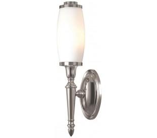 Dryden Badeværelseslampe i messing og glas H40 cm 1 x G9 LED - Poleret nikkel/Hvid
