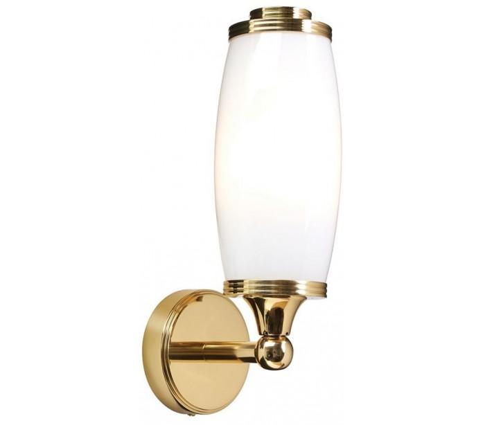 Image of   Eliot Badeværelseslampe i messing og glas H28 cm 1 x G9 LED - Poleret messing/Hvid