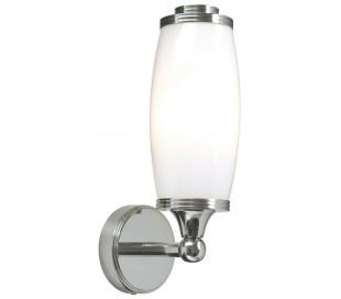 Eliot Badeværelseslampe i messing og glas H28 cm 1 x G9 LED - Poleret krom/Hvid