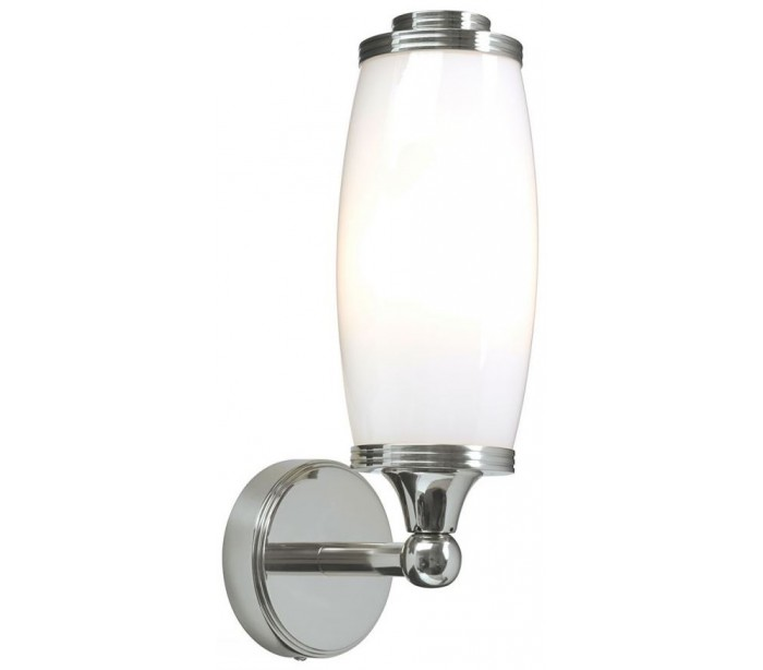 Image of   Eliot Badeværelseslampe i messing og glas H28 cm 1 x G9 LED - Poleret krom/Hvid