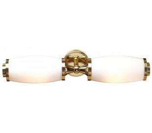 Eliot Badeværelseslampe i messing og glas B47 cm 2 x G9 LED - Poleret messing/Hvid