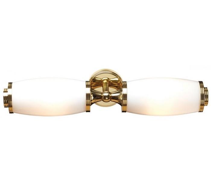 Image of   Eliot Badeværelseslampe i messing og glas B47 cm 2 x G9 LED - Poleret messing/Hvid