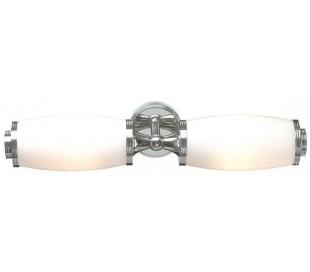 Eliot Badeværelseslampe i messing og glas B47 cm 2 x G9 LED - Poleret krom/Hvid